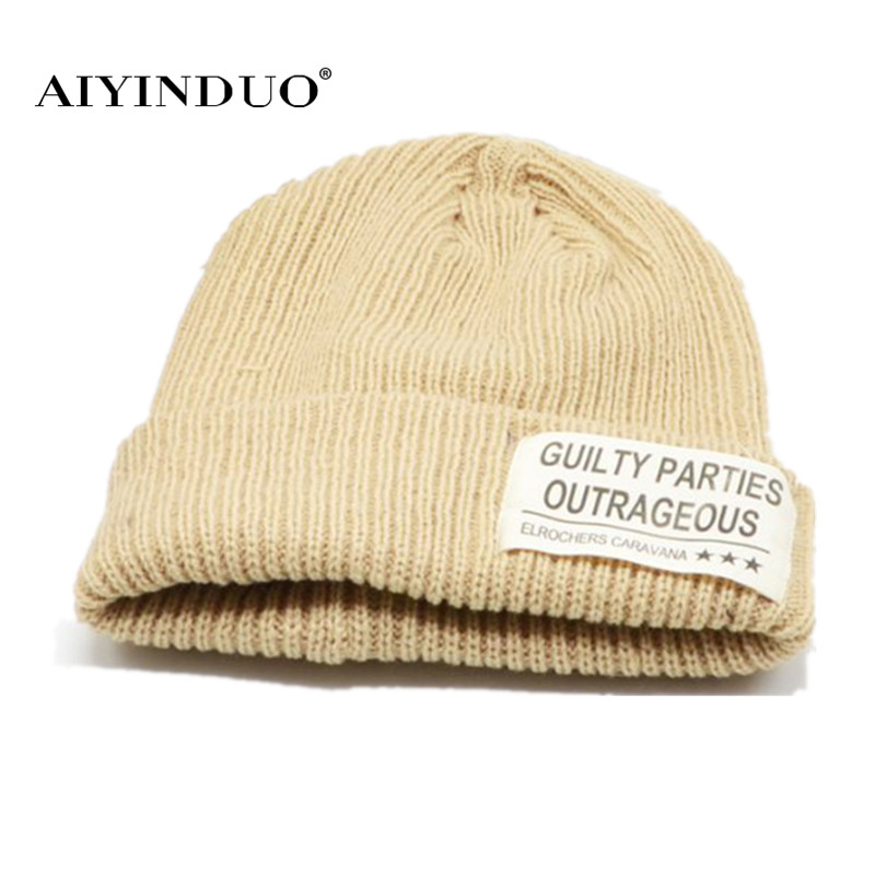 New Fashion Men and Woman Winter Caps Unisex Warm Woolen Cap Casual Letter Pattern Patch Hat Knitted Beanies Cool Street Hat fashion winter hat solid color woolen flat top cap unisex autumn and winter cap w005