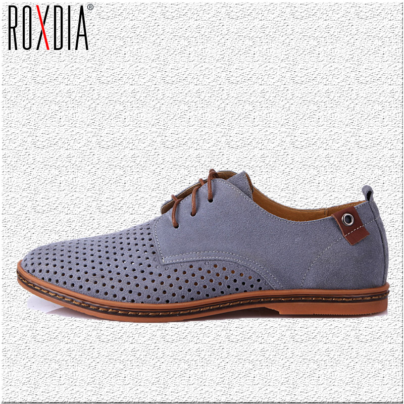 ROXDIA New Fashion Spring Summer Suede Men Flat Casual Shoes Flats Driver Footwear Breathable Lace Up Plus Size 39-48 RXM766 new 2017 spring summer women shoes pointed toe high quality brand fashion womens flats ladies plus size 41 sweet flock t179