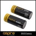 Aspire INR 26650 Batería 4300 mAh 3.7 V Li-ion Batería Recargable Para El Cigarrillo Electrónico 26650 Caja MOD iStick NX100 Pico Mega 2 unids/lote