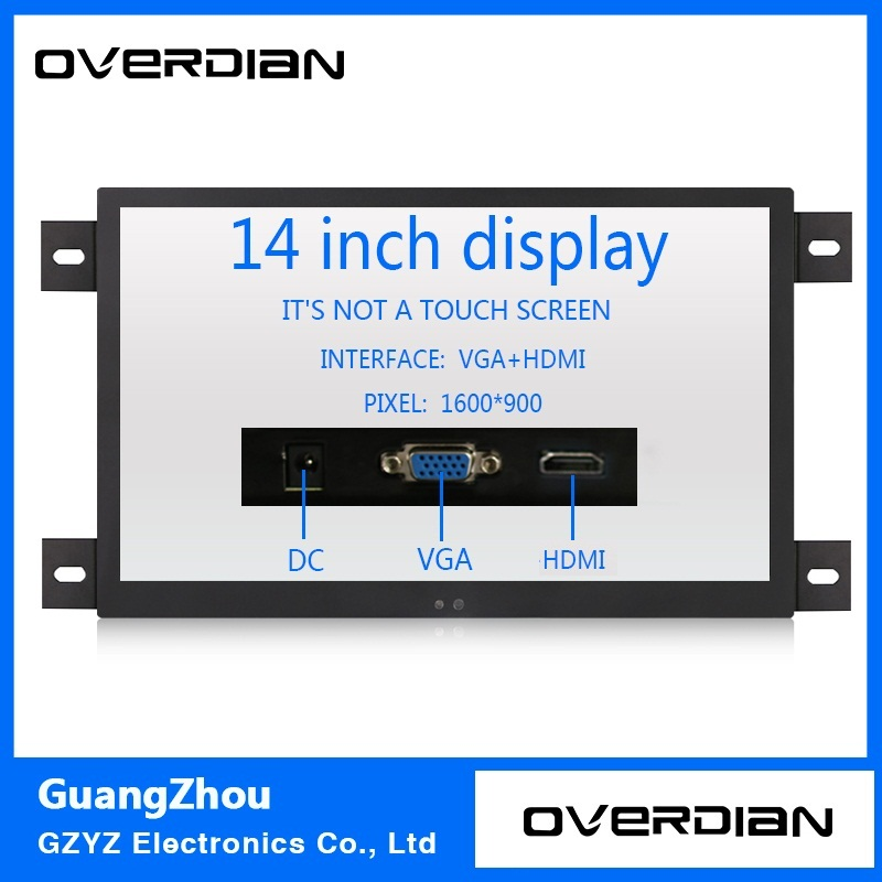 14 VGA/HDMI Interface Industrial Control Lcd Non-Touch Monitor Metal Shell Black Embedded Frame1600*900 11 6 inch metal shell lcd monitor open frame industrial monitor 1366 768 lcd monitor mount with av bnc vga hdmi usb interface
