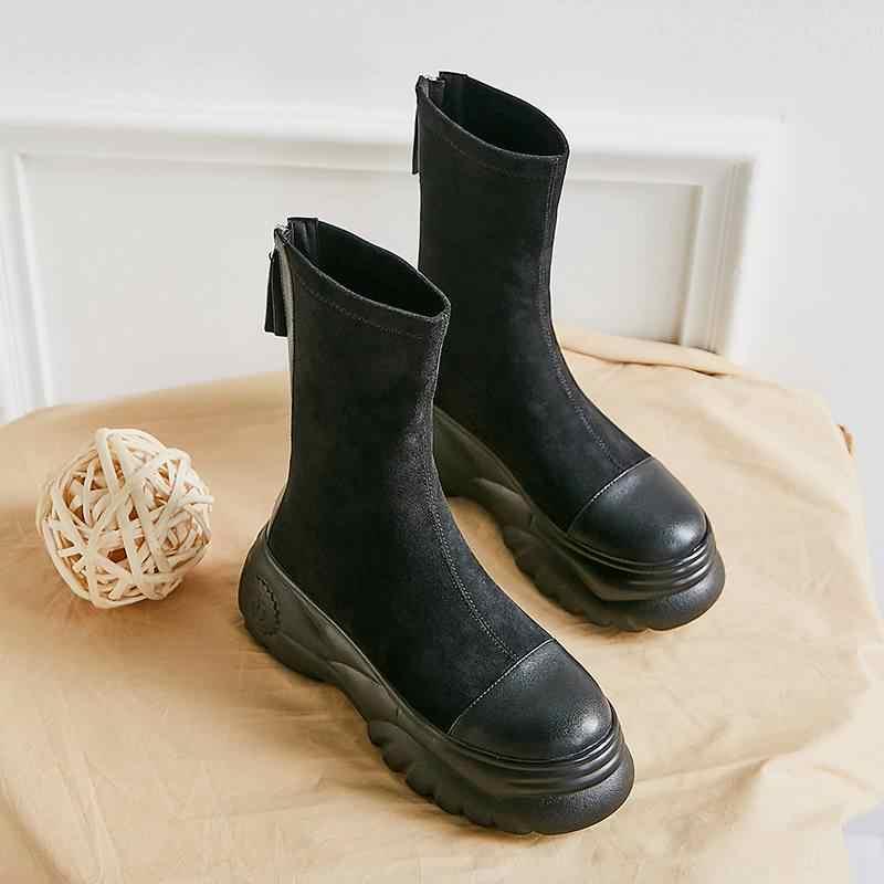 Superstar akın yuvarlak toe yüksek topuklu kadın orta buzağı çizmeler kalın alt moda streç çizmeler platformu tutmak sıcak kış ayakkabı L00