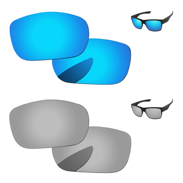 20fd11a949767 Chrome Silver   Ice Blue 2 Pairs Mirror Polarized Replacement Lenses For  TwoFace Sunglasses Frame 100% UVA   UVB Protection