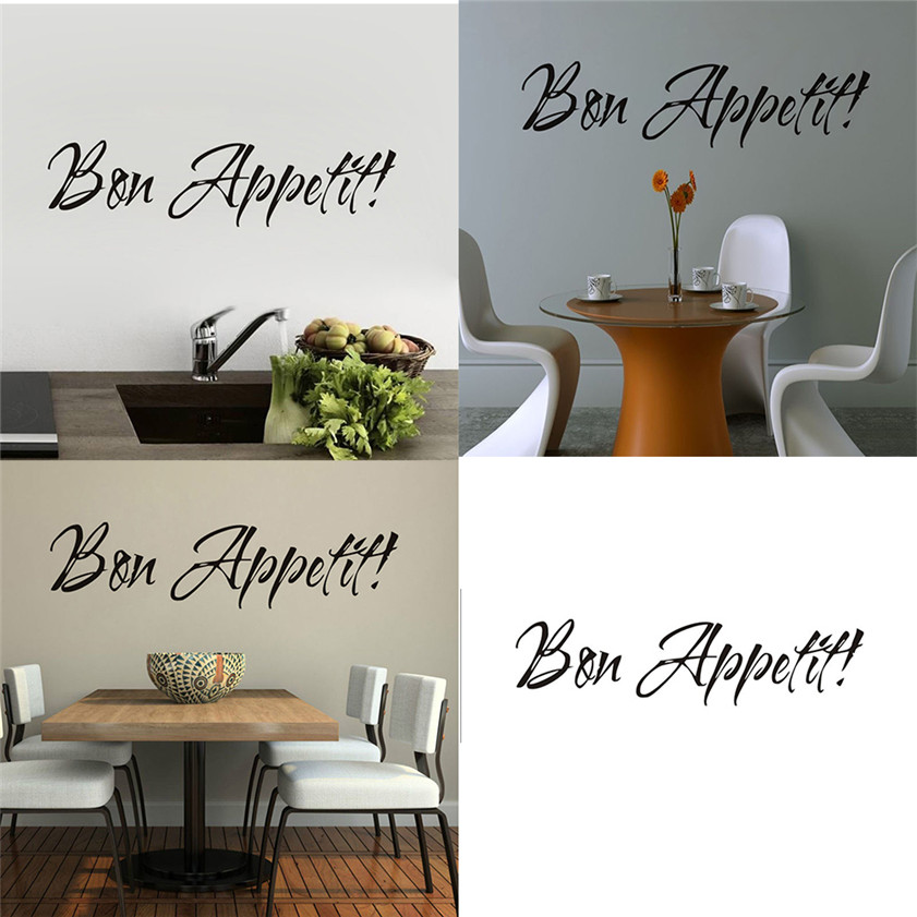 D3 High Cost Effective 1pc Vinyl Wall Stickers Quote Bon Appetit Dinning Room Decor Kitchen