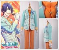 Uta no Prince Sama Sweet Cafe Live HIjirikawa Masato Cosplay Costume Custom Fashion Blue Plaid Jacket Khaki Vest Bow Tie Uniform