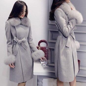 Women Slim Woolen Blend Coats Plus Size 1