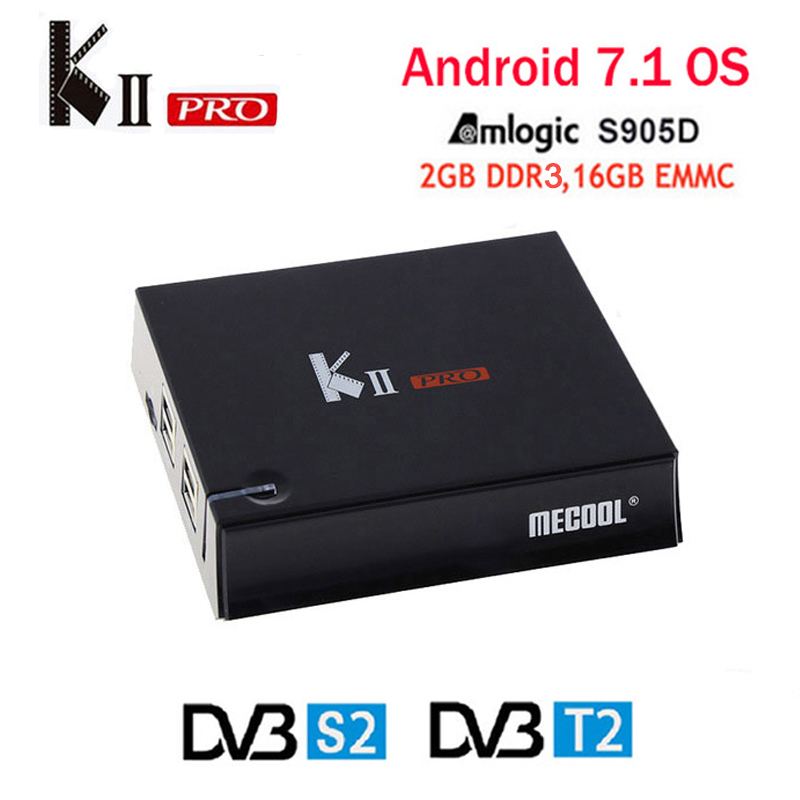 MECOOL KII Pro Android TV Box android 7.1 Amlogic S905D Quad-core 2 gb/16g set top boîte Double Wifi Bleu media Player sopport IPTV