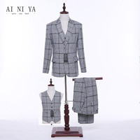 Jacket Pants Vest Women Business Suits Light Gray Plaid Wool Blended Female Office Uniform Slim Fit