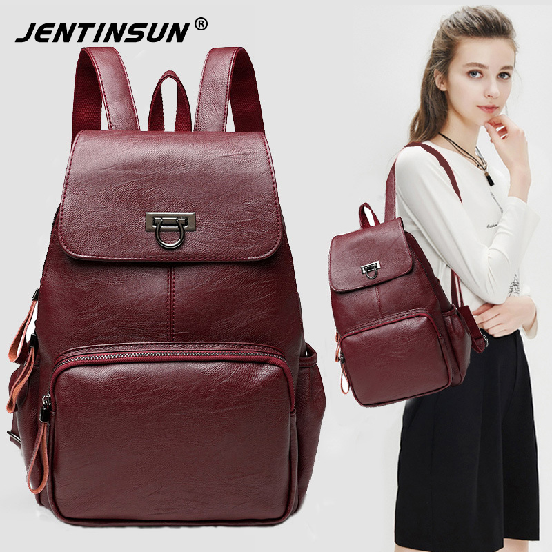 Famous Brand Sheepskin Bags Women Leather Backpack Shoulder Top-Handle Bags Anti theft B ...