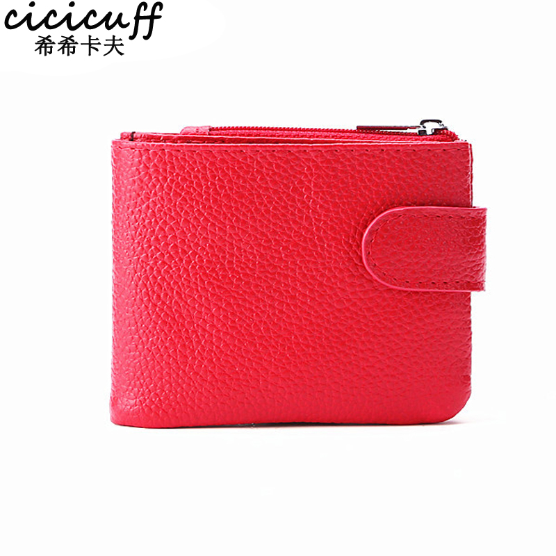 CICICUFF Casual Women Thin Wallets Female Genuine Leather Credit Card Slots Zipper Coin Pocket Wallet Kids Change Purse 2018 New pair of stylish rhinestone triangle stud earrings for women