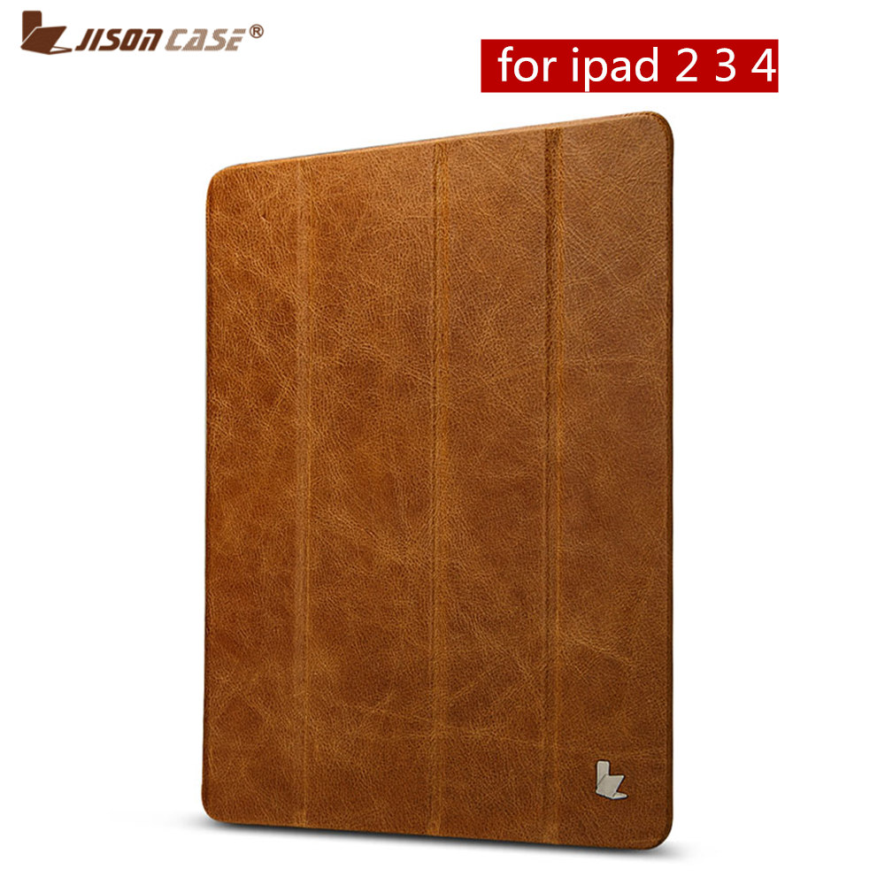 Jisoncase Genuine Leather Stand Case For iPad 2 3 4 Flip Cases Luxury Slim Folding Folio Smart Cover Wake Up Sleep for iPad 9.7