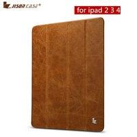 Jisoncase Genuine Leather Stand Case For iPad 2 3 4 Flip Cases Luxury Slim Folding Folio Smart Cover Wake Up for iPad 9.7 2017