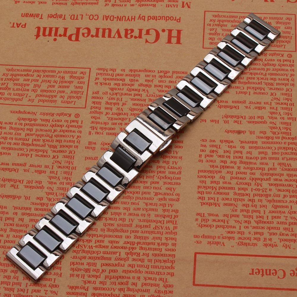 Siyah Kordonlu Saat Seramik paslanmaz çelik gümüş metal saatler - Saat Aksesuarları - Fotoğraf 2