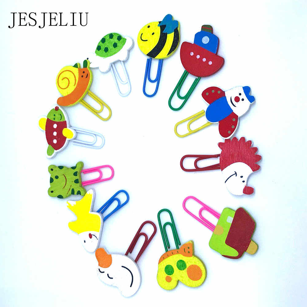 12PCS Cute Animal Painted Wooden Paperclip Burst Models Stationery Learning Office Supplies Paper Clips Clip Metal fREE sHIPPING