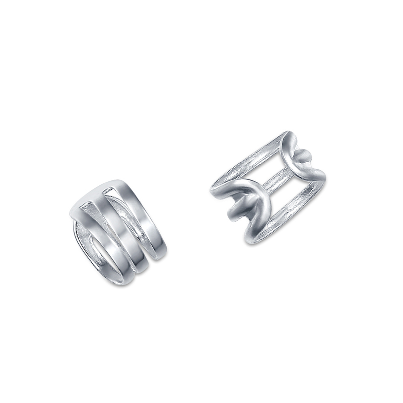 Small Slim Real 925 Sterling Silver Ear Cuff Jackets Ear cartilage Climber Hollow Clip on Earrings For Women Lady Girls Jewelry