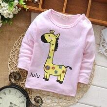 Жираф о-образным кнопки плечо вырезом желтый футболка прекрасный малыш розовый девочки
