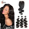 7A Virgin Indian Body Wave With Closure Brizilian Virgin Hair With Closure Indian 3 Bundles with Lace Closure Human Hair Bundles