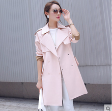 Spring Autumn Women Trench Coat   Fashion Mediem Outwear Long Sleeve Double-breasted Button Slim Trench Coat 6321B