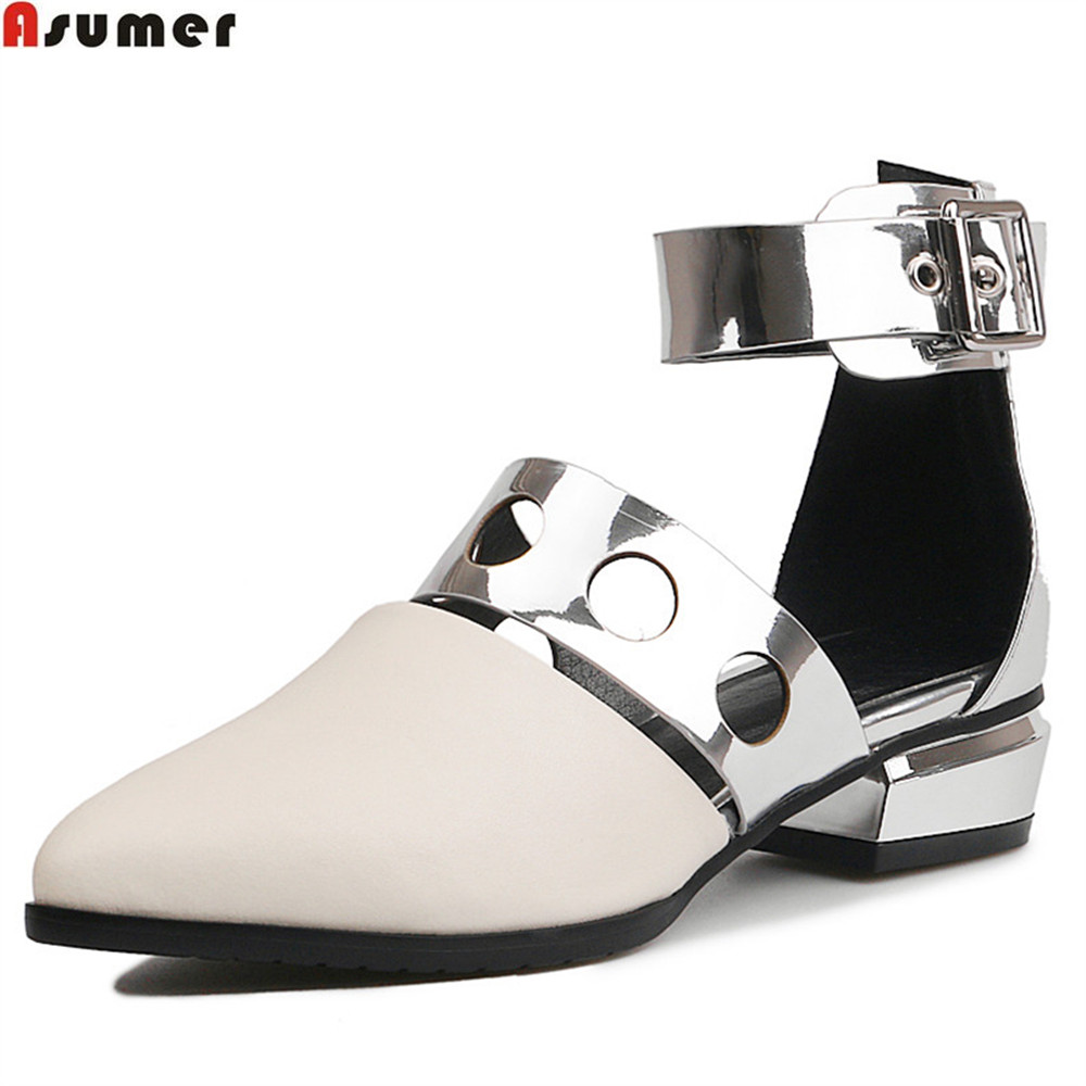 ASUMER white pointed toe buckle spring autumn shoes woman square heel casual women genuine leather med heels shoes asumer black white fashion spring autumn ladies single shoes pointed toe square heel women genuine leather med heels shoes