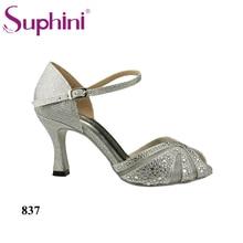 Free Shipping 2017 Flare Heel Latin Dance Shoes 7.5CM Woman Summer Latin Dance Shoes