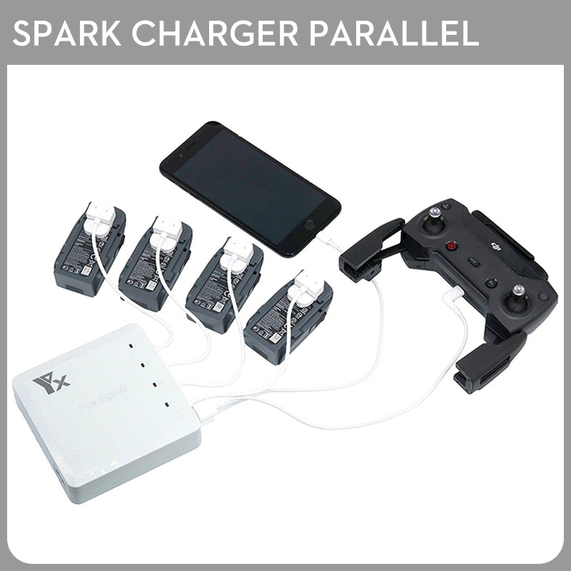 Brand 6 In 1 Spark Battery Charger Hub Parallel Dual USB Remote Intelligent Multi Charging For DJI Spark Drone original new dji spark portable charging station hub for spark drone