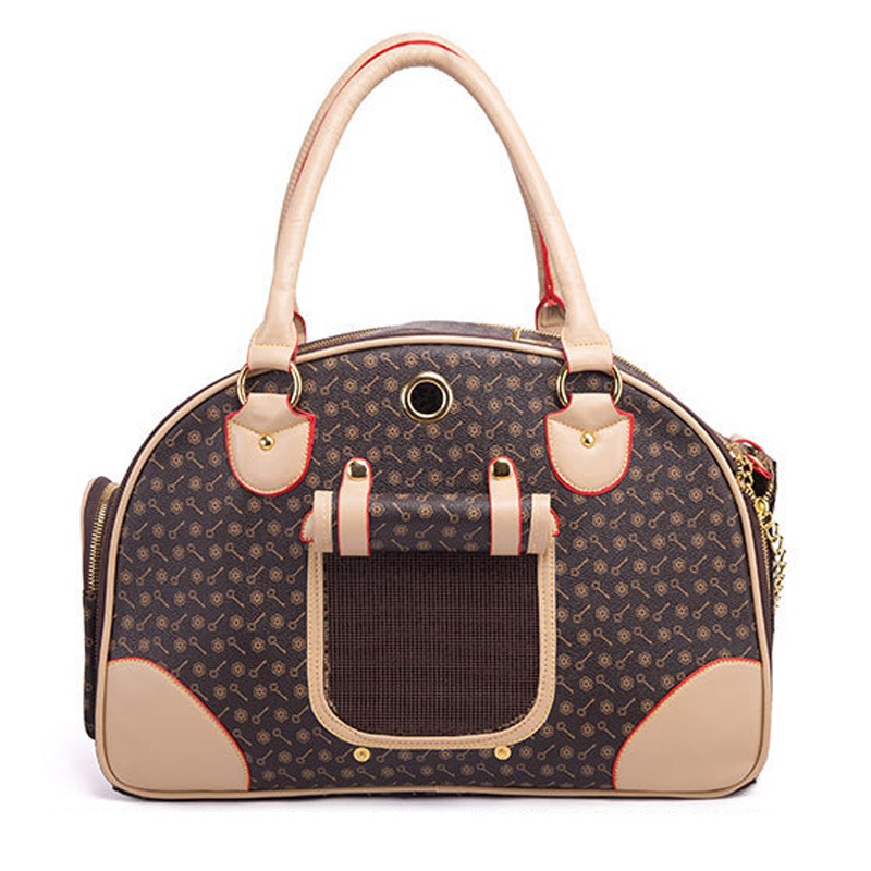 Fashion Pet Dog Carrier PU Leather Dog Carriers Luxury Puppies Cat Carrier Tote Bag Handbag for