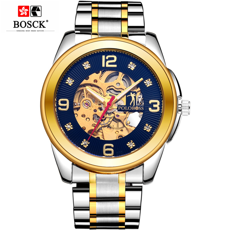 BOSCK Luxury Mens Mechanical Watch Business Gold Watch Mens Skeleton Automatic Mechanical Watch Self-Wind Solid Stainless Steel phantom cam 0857
