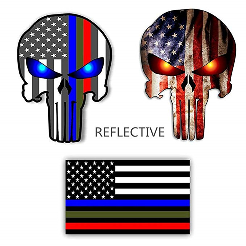 Various Sizes Thin Blue Line decal Punisher Skull Blue Line USA Version 2