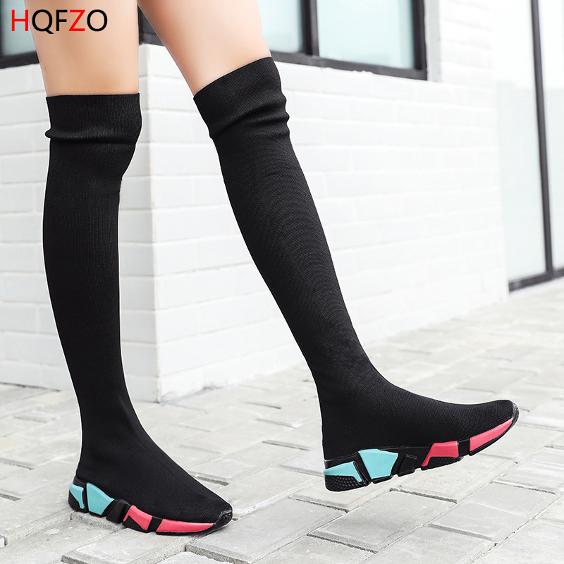 HQFZO Elastic Over The Knee Boots Women Socks Black Boots Long Thigh High Slim Knitting Boots Sneakers Platform Designer Shoes