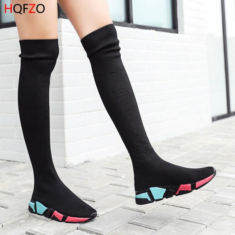 HQFZO élastique sur le genou bottes femmes chaussettes bottes noires longue cuisse haute Slim tricot bottes baskets plate-forme chaussures de Designer