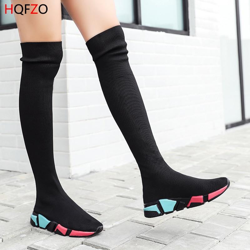 long sock boots black