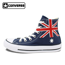 Australia Flag Converse Men Women Shoes Customizable Hand Painted High Top Blue Canvas Man Woman Sneakers