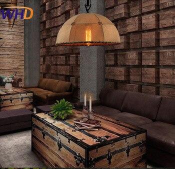 בד בסגנון רטרו לופט הנורה אדיסון יצירתי חדר השינה מנורת תליון תליית גופי תאורה חבל Helmp בציר פשוט תליון מנורות