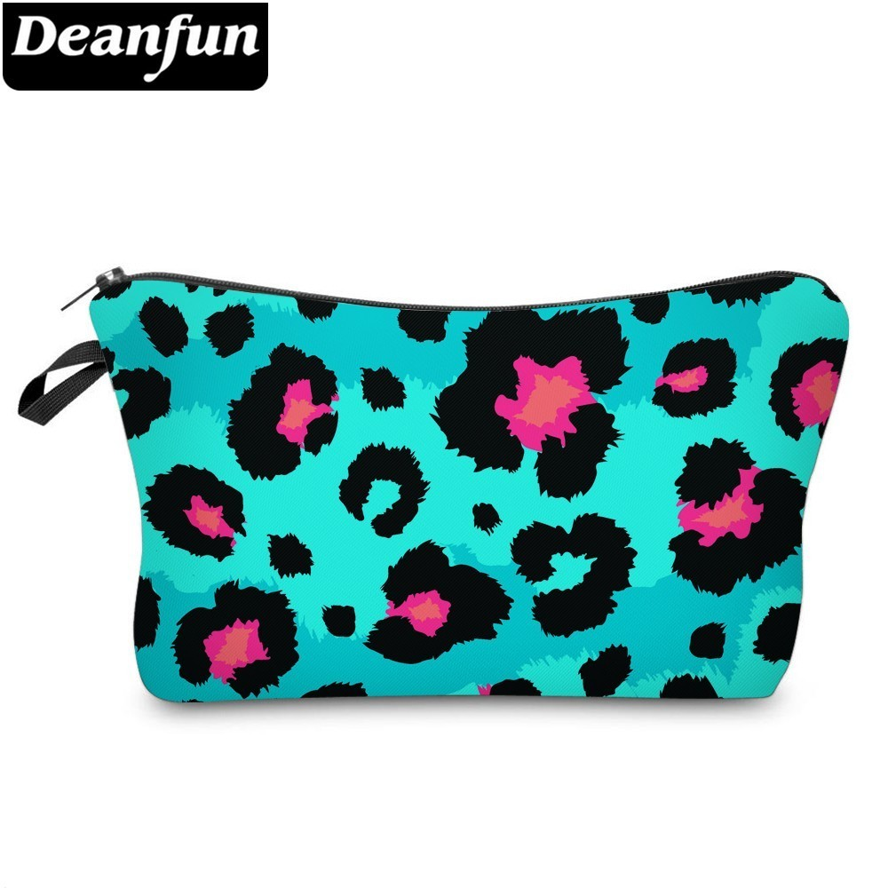 Deanfun Leopard Cosmetic Bag Waterproof Printing Luxury Blue Toiletry Bag Men Customize Style For Travel  51488