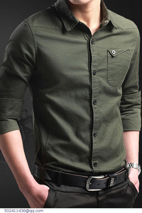 694d6c45dcc 2015 Fashion Quality Men Long Sleeve Shirt 100% Plain Cotton 6 Color Shirts  Casual Male Dress Clothes Men's Cothing Camisa 14013