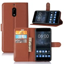 Brand Tuke High Quality Luxury Leather Flip Case for Nokia 6 Smartphone Wallet Stand Cover With Card Holder