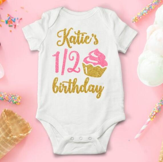 Girls Personalised 1st First Birthday Vest T-Shirt Top Cake Smash Outfit Pink