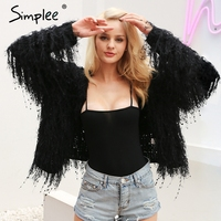 Simplee Black Knitted Tassel Sweater Women Cardigan Long Sleeve Warm Soft Female White Jumper Autumn Winter