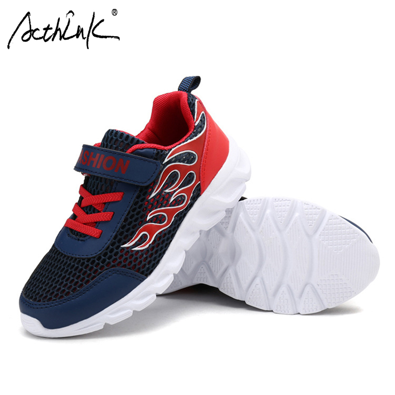 ActhInK Teen Boys Casual Shoes School Boys Leather Mesh Shoes Kids Preppy Style Sports Shoes Fashion Breathable Running Shoes