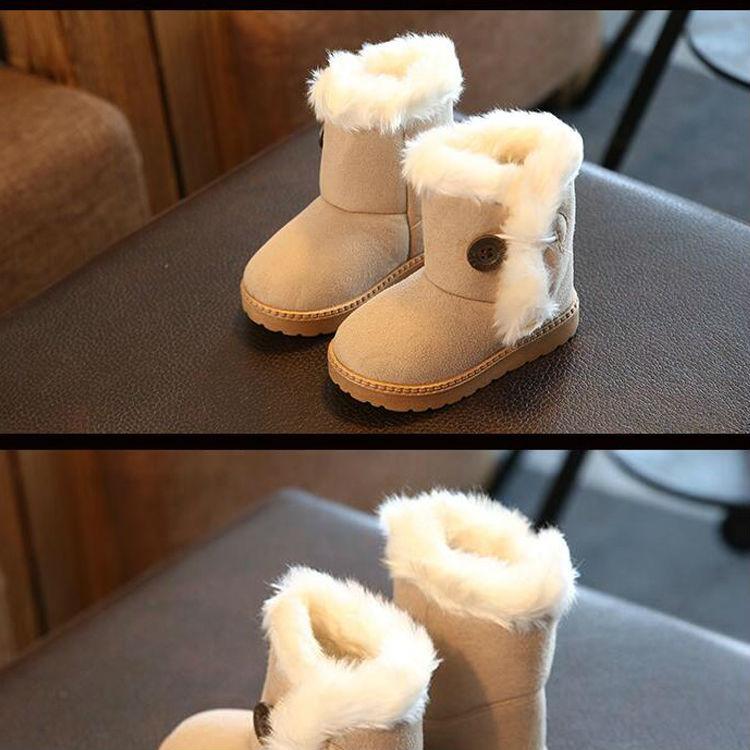 1_05Childrens boots, plush snow boots, non-slip, waterproof, warm, rubber, suede, boy, girl, children, shoes, outdoor thickening, winter