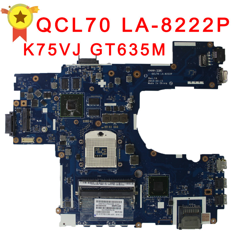 Original K75VM laptop motherboard GT630M / GT635M Graphics for ASUS laptop mainboard full test and free shipping laptop motherboard for toshiba a205 a200 v000108040 integrated ddr2 mainboard full tested free shipping