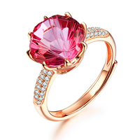 5 4ct Pink Topaz Women Rings Adjustable 925 Sterling Silver Ring Round Cut 18K Rose Gold