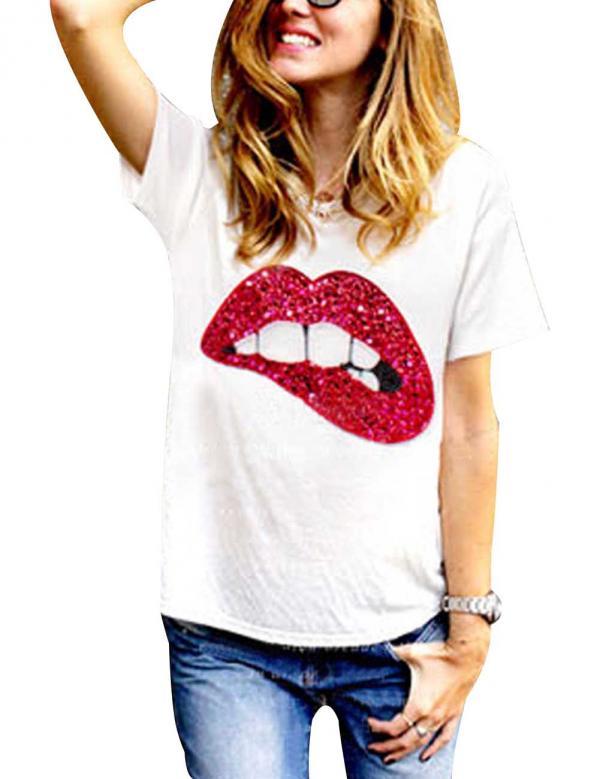 2015 del verano del estilo mujeres Tops lentejuelas boca