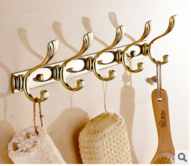 High quality gold 5 robe hooks bathroom hangings gold towel rack clothes hook Bathroom