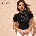 SHEIN Блузка С Оригинальным Рукавом И Бантом Нарядная Офисная Блузка С Коротким Рукавом И Контрастной Отделкой