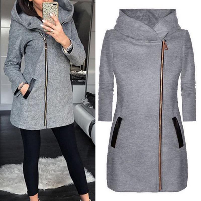 MONERFFI весенняя куртка для женщин с высоким воротником и капюшоном на молнии с длинным рукавом, куртка, тонкая верхняя одежда, пальто, Повседневная Толстовка с капюшоном