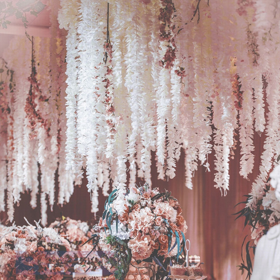 Image 4 - 100CM artificial Cherry blossom vine silk flowers Sakura for party Wedding ceiling decor fake garland arch ivy diy party decor-in Artificial & Dried Flowers from Home & Garden