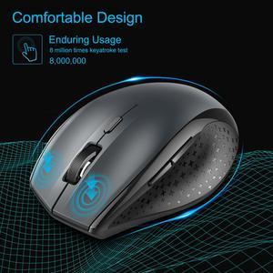Оптическая беспроводная мышь TeckNet, 6 кнопок, 4800 dpi, 2,4 ГГц, USB, эргономичная мышь для ноутбука, ПК