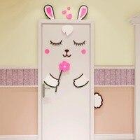 Cartoon Rabbit 3D Door Sticker Girls Bedroom Door Decoration Home Design Cute Wallpaper For Kids Room DIY Door Decal Stickers