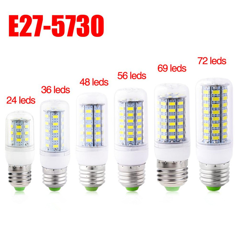 LED Lamp E27/E14 AC220V Mini Corn Bulb Warm/Cool White 5730SMD 24/36/48/56/69//72/89 Leds Chandelier Light For Home Decoration