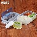 1 Pcs Microondas Lunch Box com Colher de Sopa Tigela Pauzinhos Ecológicos Portáteis Ao Ar Livre Recipientes Para Alimentos Para O Escritório Da Escola dos miúdos